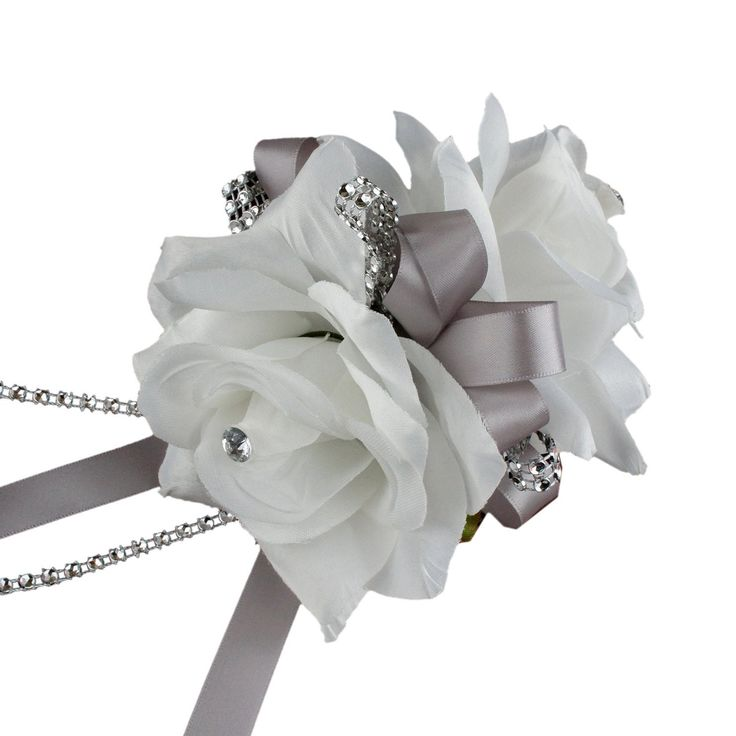 Double Open Rose Wrist Corsages With Pearl Wristband For Wedding And Prom ( 9 options to choose from )