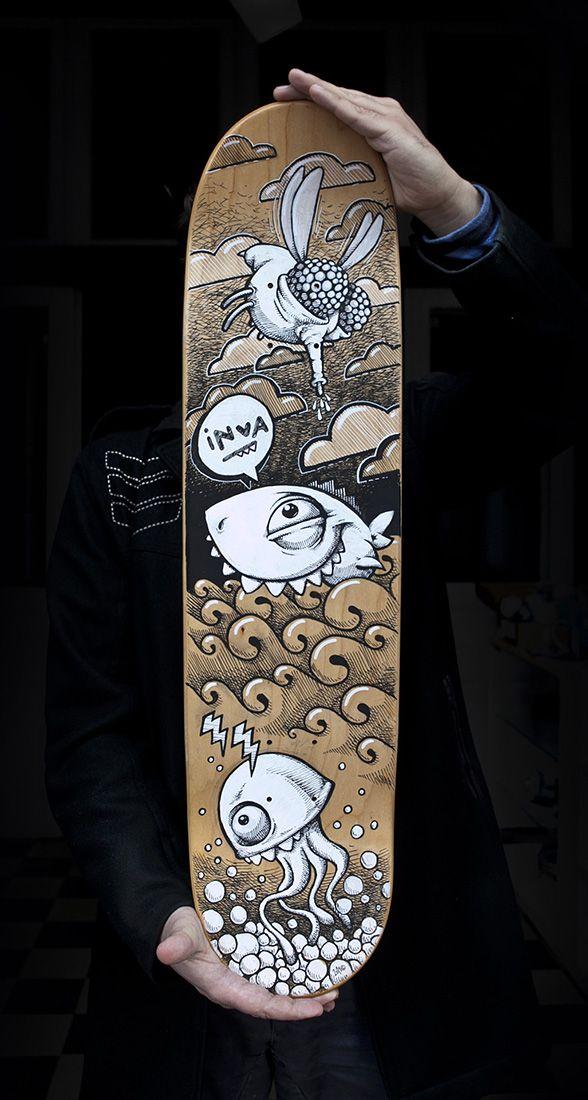 Marker illustration on skateboard by INVA.