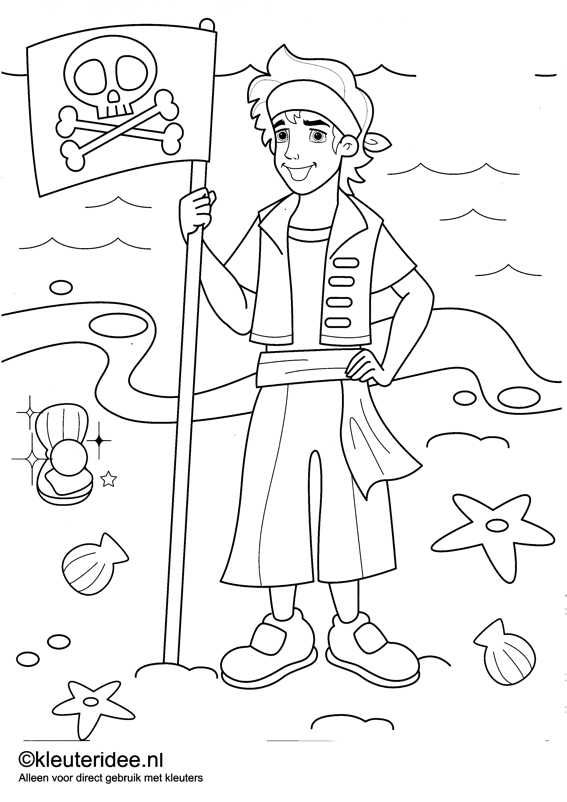kleurplaat piraten 7, kleuteridee.nl , op de site nog veel meer piratenkleurplaten, pirates coloring free printable.