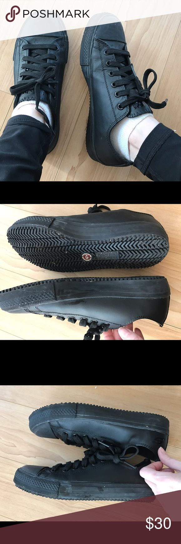 Skechers Work Non Slip Resistant All Black Shoes 7 Looks like converse all star style, worn only a few times but does have some wear as shown on sides and bottom and inside Skechers Shoes Sneakers