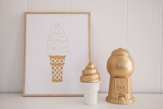 Ice Cream Cone 11x14 Print Gold Metallic Ink Poster by Taryn St. Michele, $40.00 Gold Foil, Art, Wall Decor, Metallic, Kiss, Lips, Home Decor, Gold, Letterpress, Candy, Sweets, Wall Art, Ice Cream, Pastel, Metal, Decoration, Home Office, Office Decor, Gift, Display, High Fashion, Girl's Room, Bedroom, Living Room, Pucker, Lipstick, French Kiss, Lip Print, Etsy, Shopping