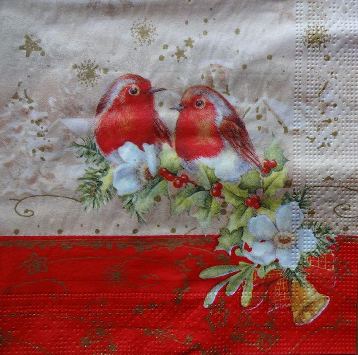 4 Robin Napkins, Christmas Paper Napkins, Christmas Dinner Napkins, Holiday Napkins, Christmas Decoupage Napkins, Collage Paper (ROBIN/ RED)