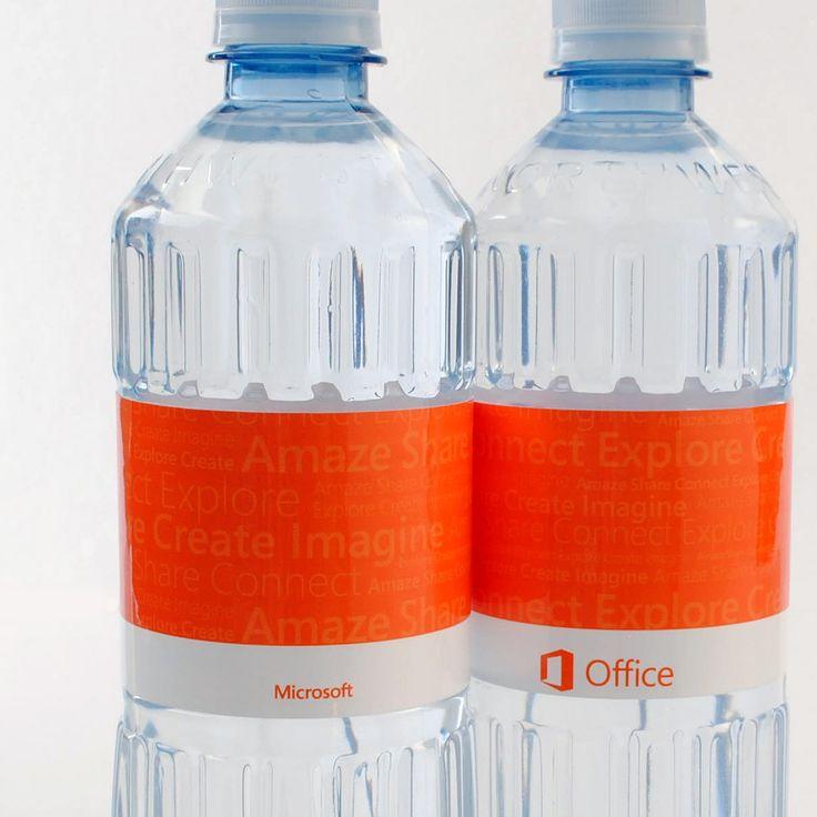 Microsoft has custom labeled water. #microsoft #office #bottledwater #promotional #marketing #privatelabel