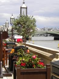 The House of Lords Terrace overlooking the River Thames, London