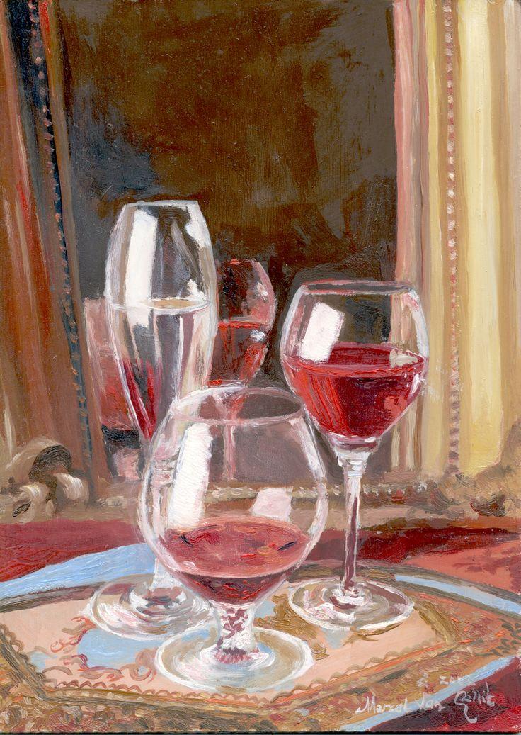 Marcel Gallik Poháre s vínom /Glasses with wine/ oil, fibreboard, 2002 private collection