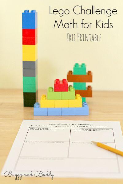 DIY Lego Challenge Math Activity (Free Printable) // Desafío de matemáticas con Lego (Imprimible gratis)