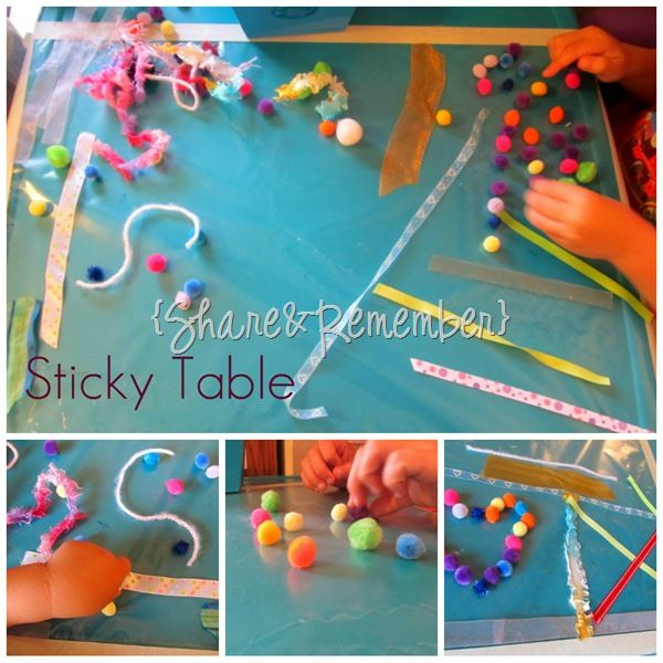 Sticky Table Sensory Play....upside down contract paper...a NOT messy sensory activity  :-)