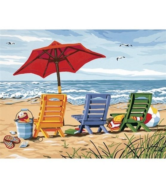 Dimensions Paint By Number Kit 14x11 Beach Chair Trio
