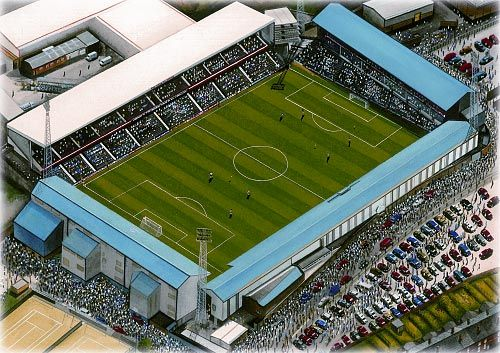 Baseball Ground in Art, former home of Derby County F.C. Great gifts @ sportsstadiaart.com