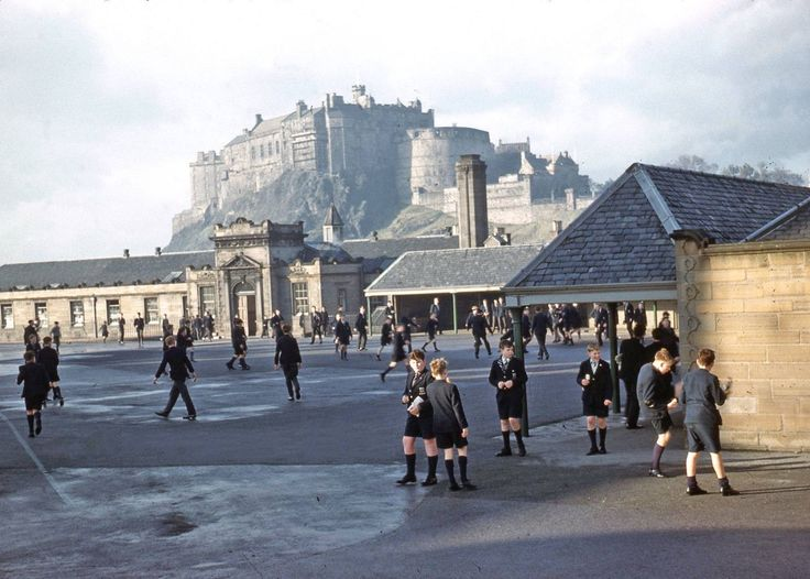 George Heriots, 1962..... I don't think too many school playgrounds can match THAT for a backdrop. Picture: Submitted by Gordon Bryan