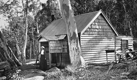 """Photo of Manfields Chalet, The Gorge Mt Buffalo. Circa 1910. 'Remembrance"""" printed on the card. Photo from Genevieve Baumgarten album. Museum of Vicotria collection."""