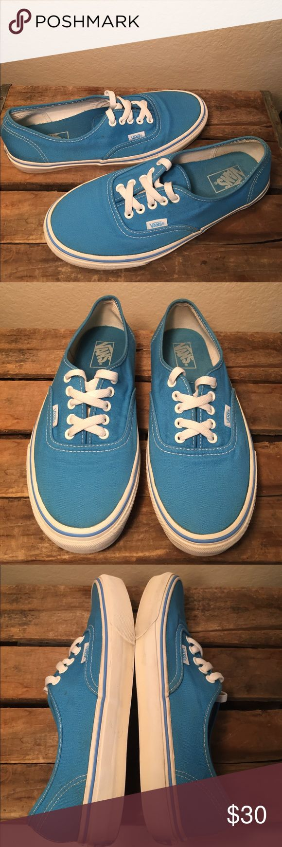 Vans Teal Blue Women's Size 9.5/Men's Size 8. Preowned and in great condition please view all 8 photos. I did take a couple of some very lil marks on shoes that to be honest art not real noticeable. If those don't bother you these will be a great pair for you😊. No holes and no fading or pulling away from rubber trim. Vans Off The Wall on heels faded a tad not bad. Vans Shoes Sneakers