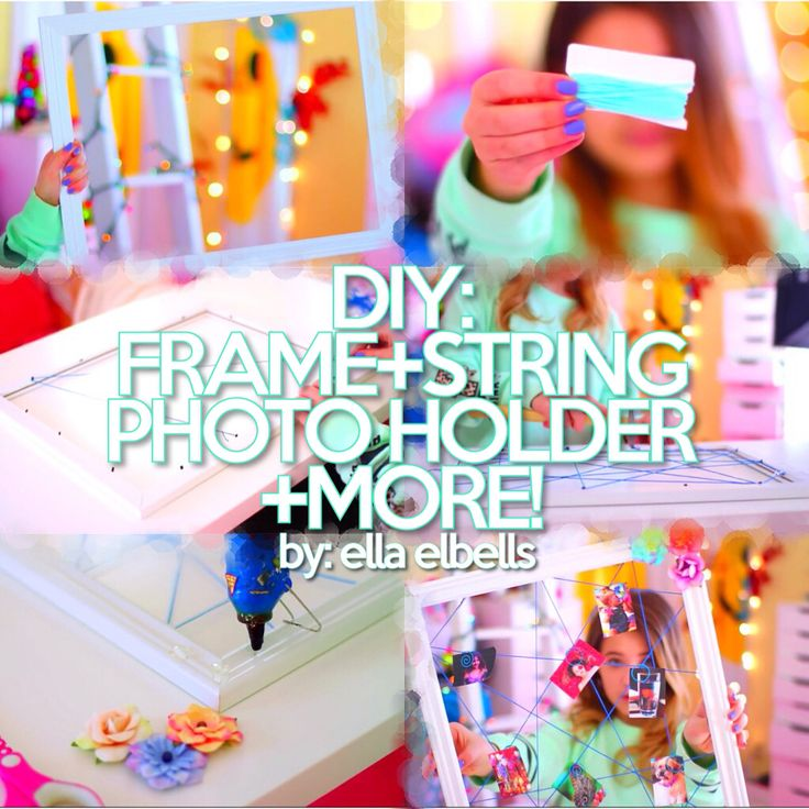 This adorable photo holder that uses frame and string, is just one of the many jaw-dropping DIYs in this video by Ella Elbells: http://youtu.be/1ycMwetU0eY