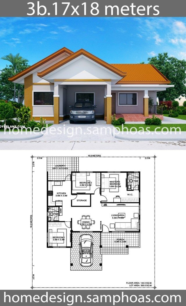 House Design Plans 17x18m With 3 Bedrooms With Images Bungalow House Floor Plans House Plan Gallery House Construction Plan