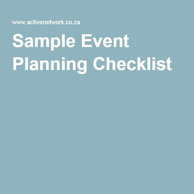 Sample Event Planning Checklist PR Marketing Pinterest Event - sample event