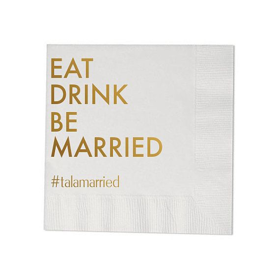 100 Personalized Wedding Napkins Beverage Cocktail Luncheon Dinner Guest Towel Custom Monogram Eat Drink