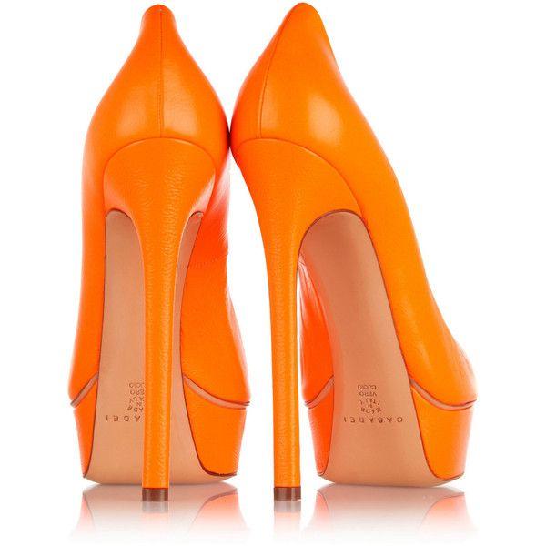 Casadei Neon leather pumps ($295) ❤ liked on Polyvore featuring shoes, pumps, heels, orange, orange pumps, slip-on shoes, high heeled footwear, slip on shoes and neon pumps