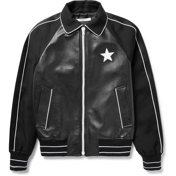 Givenchy Satin-Trimmed Leather and Wool-Twill Bomber Jacket (22,885 CNY) ❤ liked on Polyvore featuring men's fashion, men's clothing, men's outerwear, men's jackets, givenchy mens jacket, men's wool bomber jacket, g star mens jacket, mens real leather jackets and mens wool jacket
