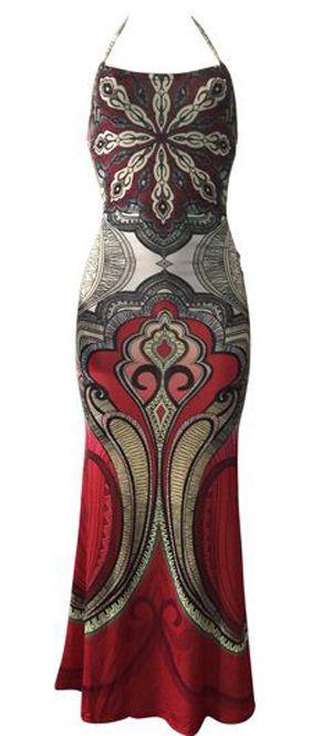 Boho Tribal Print Spaghetti Strap Maxi Dress