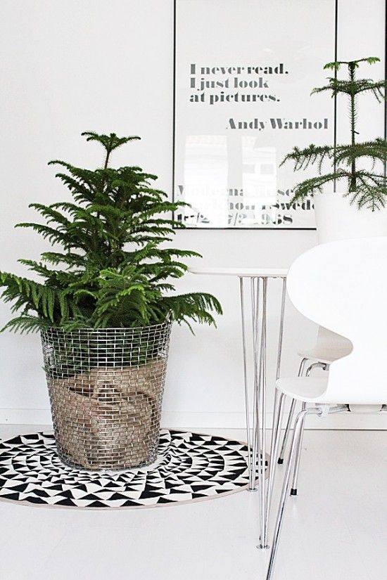 metal mesh basket lined in hessian (burlap) for the Christmas tree - Via Room of Karma | Nordic Christmas | Ferm Living: