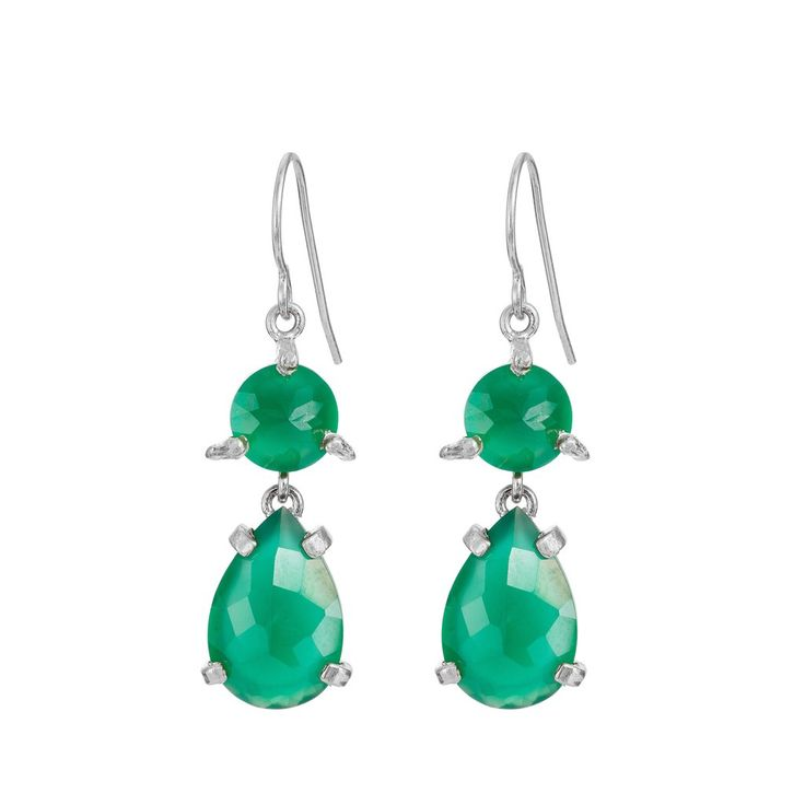 In The Wild Earrings Green Onyx in Silver