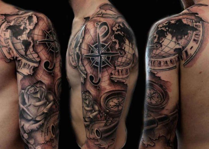 Tattoo Man Map Compass Rose  - http://tattootodesign.com/tattoo-man-map-compass-rose/  |  #Tattoo, #Tattooed, #Tattoos