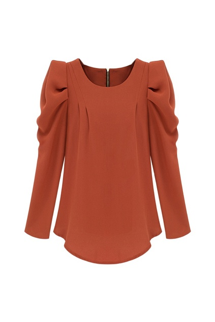 Retro Long Sleeve Red Chiffon Blouse  great color, gorgeous sleeves