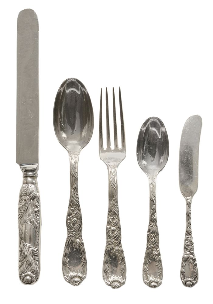 jcpenney clearance outlet online shopping Brunk Auctions   Tiffany Chrysanthemum Sterling Flatware