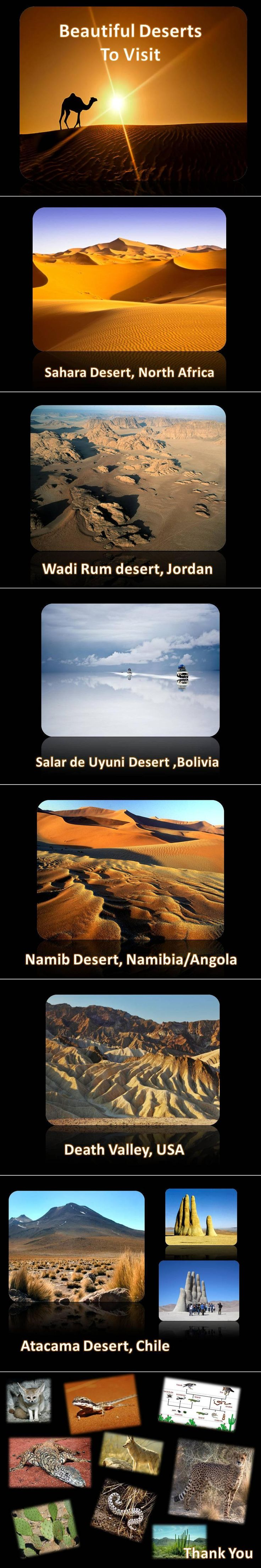 Deserts are arid regions, generally receiving less than ten inches of precipitation a year, or regions where the potential evaporation rate is twice as great as the precipitation.    The world's deserts are divided into four categories. Subtropical deserts are the hottest, with parched terrain and rapid evaporation. Although cool coastal deserts are located within the same latitudes as subtropical deserts, the average temperature is much cooler because of frigid offshore ocean currents.