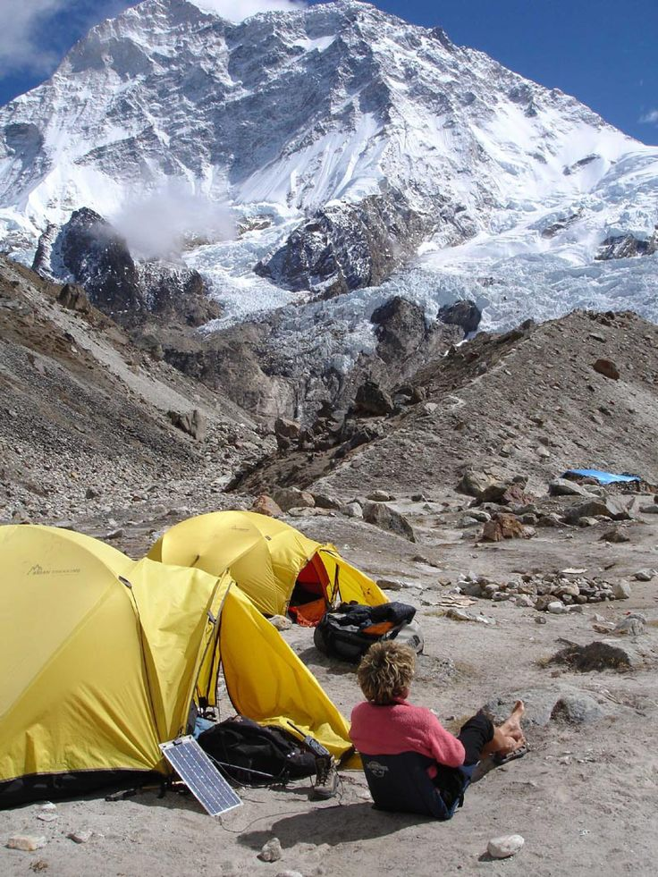Katia Lafaille at Makalu Base camp. Her husband Jean-Christophe Lafaille disappeared during a solo winter attempt of Makalu in 2006.