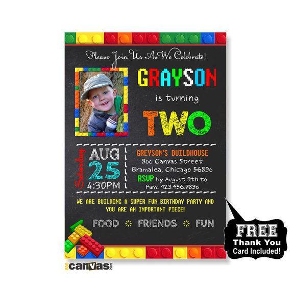 Lego Birthday Invitation. Lego Birthday Party Invite. by 800Canvas