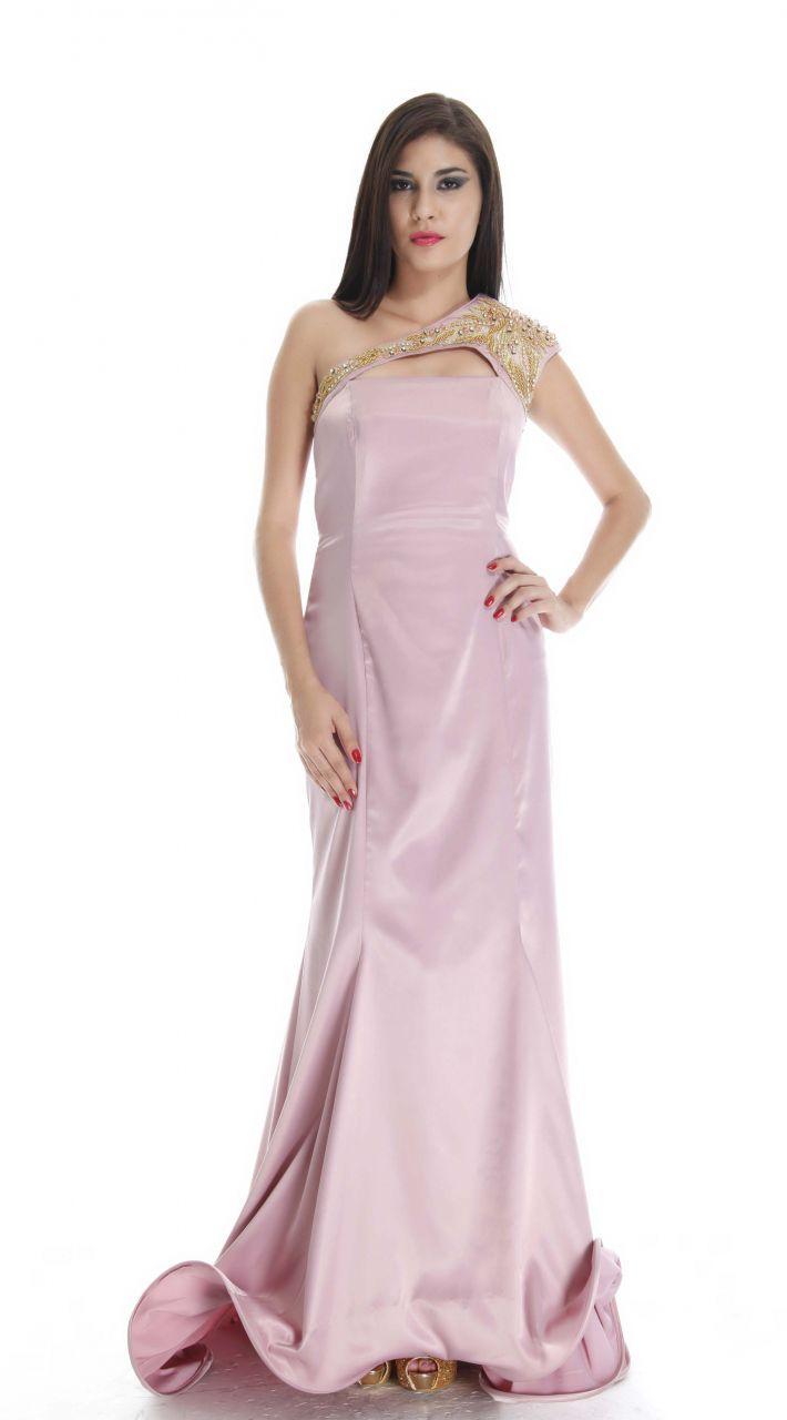 Abiye Elbise: Toz Pembe Saten Kumaş Prenses Model