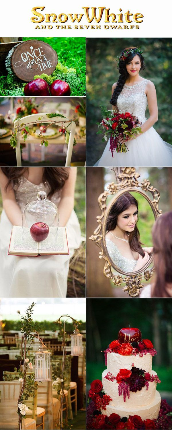 Snow White Fairytale Inspired Red and Gold Apple Wedding Ideas