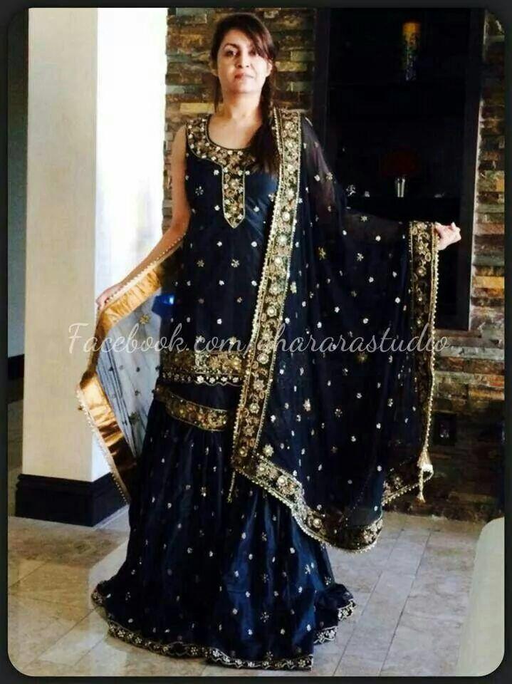Black silk Gharara #wedding #bridal #gharara #bride #bridalgharara #partygharara