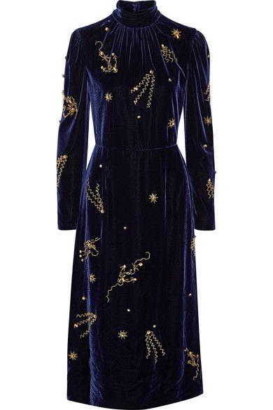 PRADA Embellished Velvet Midi Dress. #prada #cloth #dresses