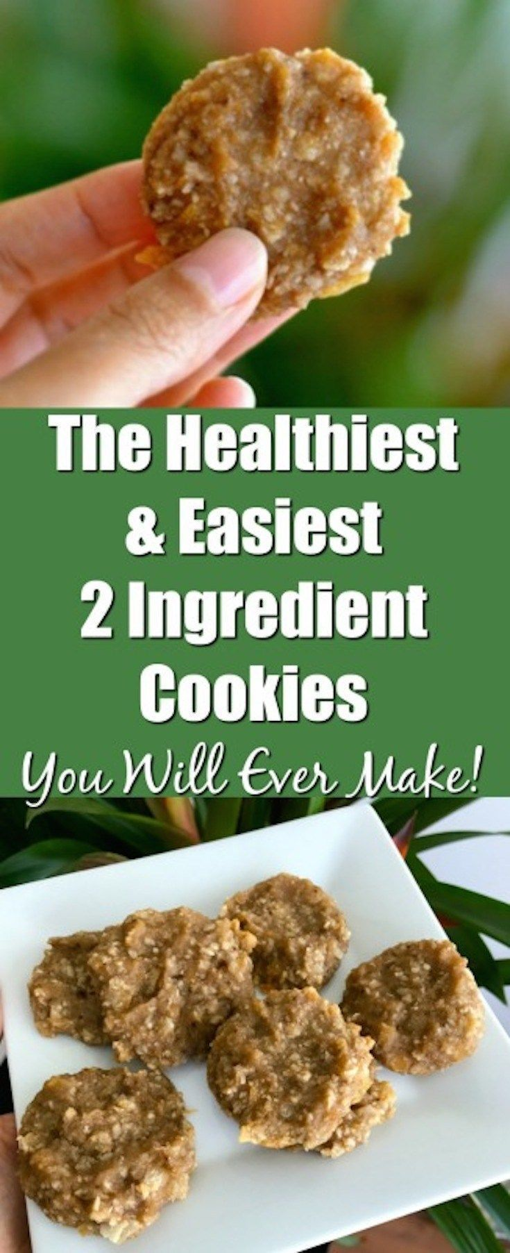 The easiest and healthiest 2 ingredient cookies! Perfect recipe. #2ingredient #coconut #banana #baking #cookies #glutenfree #easyrecipes #healthy