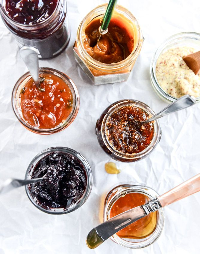 """WE AGREE! """"Mandatory for me: a boatload of jams, spreads and chutneys. I love to add three or four different mustards because I'm mustard obsessed. A few fruit based jams or butters, along with a savory (hot pepper! Merlot!) jam and almost always a fig spread."""" How to make a killer #cheeseplate - howsweeteats.com"""