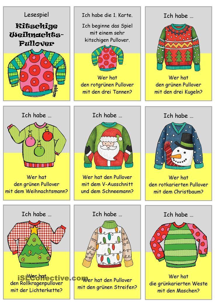 Lesespiel _ Kitschige Weihnachtspullover _ Ich habe...Wer hat...? #leseförderung #lesen #deutsch