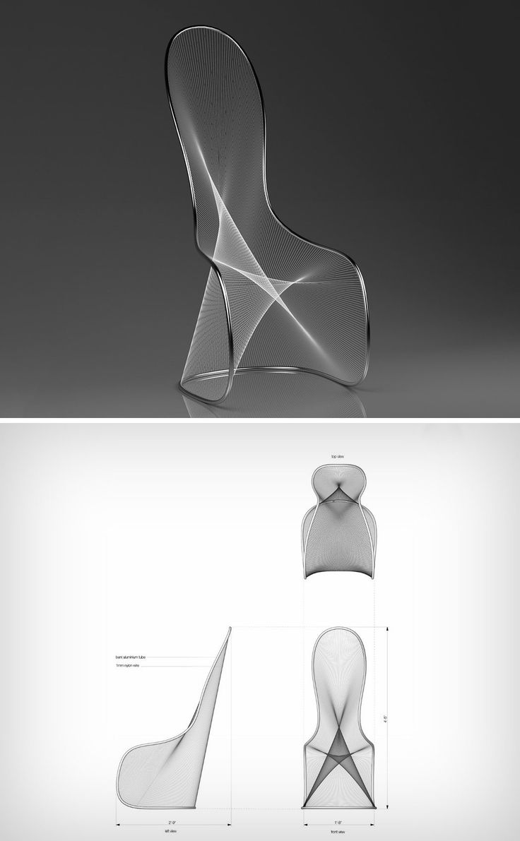 Caustics Chair gives the illusion of the caustic effect, it uses a thin, virtually transparent fabric held together on a chair-frame.
