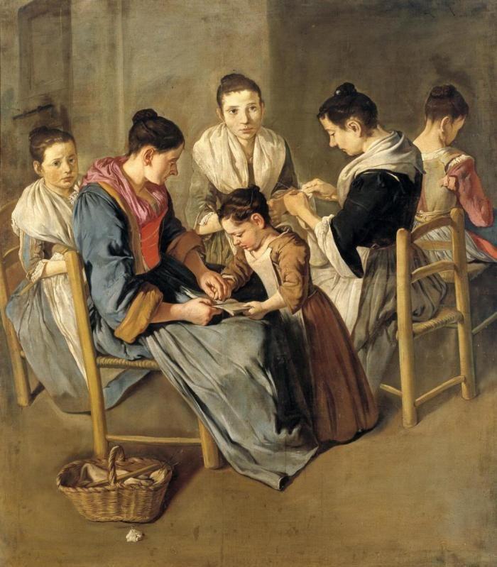 """Scuola di ragazze: la bimba del Pitocchetto (Giacomo Ceruti) nel dipinto """"Donne che lavorano"""" - Brescia, Museo di Santa Giulia"""