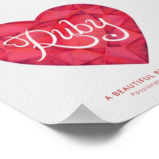 Ruby name meaning watercolor heart red gem poster   Zazzle ...