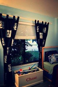 Stamped curtains diy. Star wars. Storm troopers.