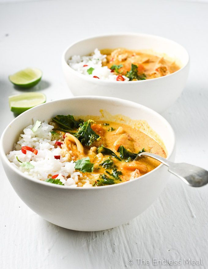 Crock Pot Thai Chicken Curry. Mmmm! Chicken thighs, Thai red curry paste, onion, ginger, garlic, kale, chili peppers, coconut milk, fish sauce and a bit of coconut aminos. Promising!!!!