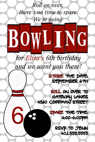 Custom Bowling Birthday Party Invitations