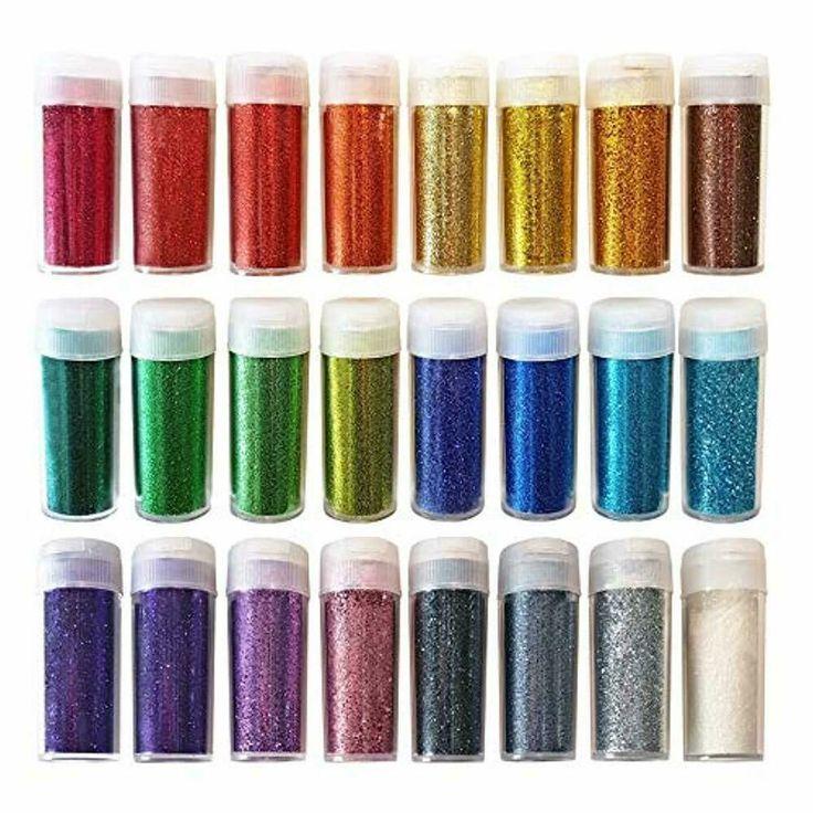 Original Schreibwaren Kunsthandwerk Glitter Shake Gläser, extra feines Pulver, 24 …