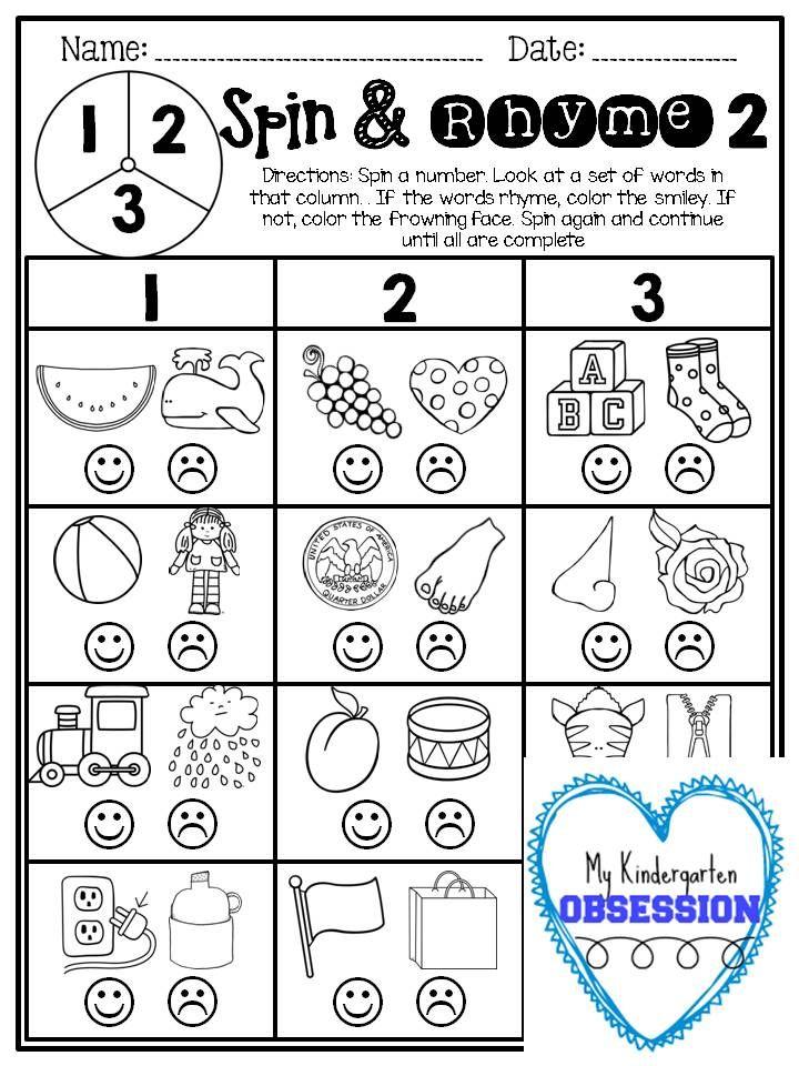 Printable Worksheets phoneme deletion worksheets : 54 best Rhyming images on Pinterest | Rhyming activities, School ...