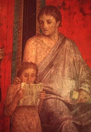 Fresco, Villa of Mysteries, Pompeii: woman with scroll and child reading (Roman, 1st century CE)