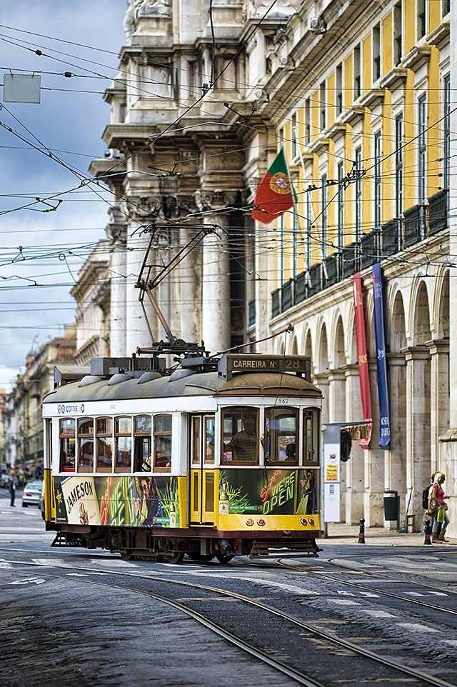 Lisbon trams in Comércio square, Portugal