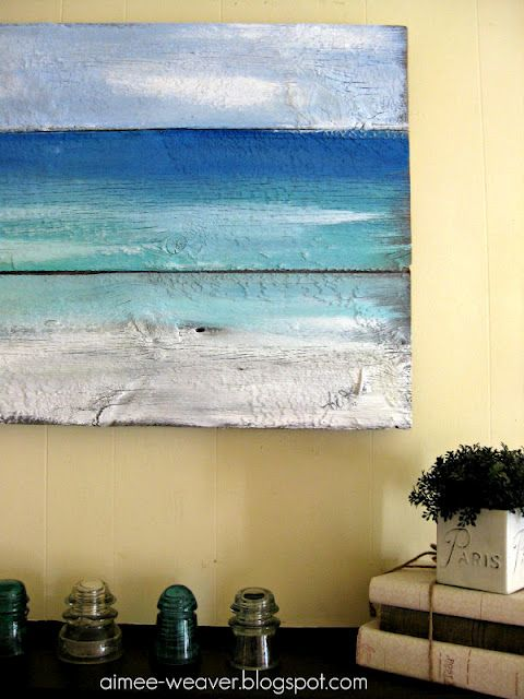 I want to try this! Paint sea and sky on old wood.