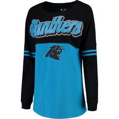 Women's 5th & Ocean by New Era Black/Blue Carolina Panthers Athletic Varsity Long Sleeve T-Shirt